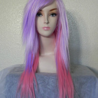SALE // Light Purpe and Cotton Candy Pink / Long Straight Layered Wig