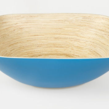 Square coiled bamboo salad bowls, blue
