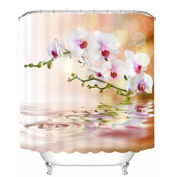 Bathroom Products Printed Polyester Bath Curtain Shower Curtain Peach Blossom