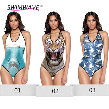 3D Print Animal One Piece Women Swimsuit Backless Cross Bandage Swimwear Bathing Suit Beachwear Sexy Summer Bikinis