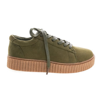 Stealthy01M Olive Green By Bamboo, Classic Round Toe Lace Up Flat With Platform Ribbed Tooling Sneaker