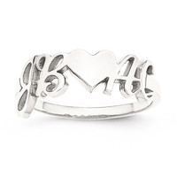 Sterling Silver Laser Polished Couple's Initials And Heart Ring