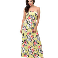 1970s Style Yellow Rose Floral Strapless Maxi Dress