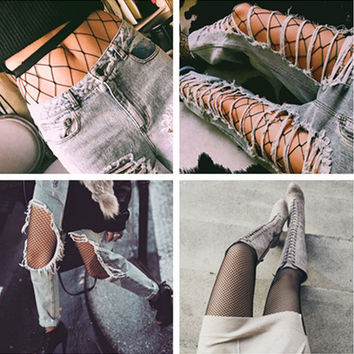 Fashion Temptation Solid Color Fish Net Socks Hollow Mesh Stockings Pantyhose Tights