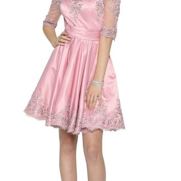 Rose Homecoming Short Dress Off-Shoulder with Appliques