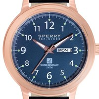 Men's Sperry Top-Sider 'Largo' Leather Strap Watch, 42mm - Blue/ Rose Gold