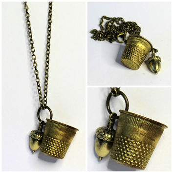 Acorn and Thimble Peter Pan and Wendy Necklace Brass Vintage Thimble