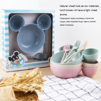 High quality Wheat Straw mickey mouse big Head bowl Fruit plate tableware dish  Kuaizi lunch Bento box for Children