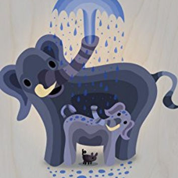 'Elephant Showers' Cute Mom & Baby Trunk Squirting - Plywood Wood Print Poster Wall Art
