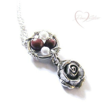 Silver Rose Charm Necklace - Red Tigers Eye - Silver Rose Necklace - Boho Chic Silver - Stocking Stuffer for Women - For Her - Teen Gift
