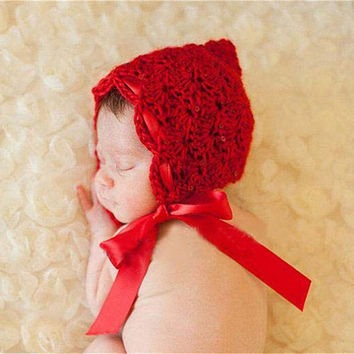 Little Red Riding Hood Crochet Newborn Baby Hat with Silk Ribbon