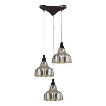 46008/3 Danica 3 Light Pendant In Oiled Bronze And Mercury Glass - Free Shipping!