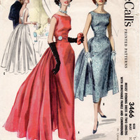 50s Hollywood Starlet Evening Gown Vintage Cocktail Dress McCall's 3466 Sewing Pattern Slim Fit Skirt Cummerbund Bust 32