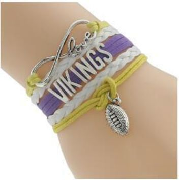 Weave Braided Multi Layered Vikings Football Bracelet