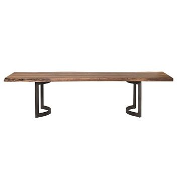 Bent Rustic & Natural Dining Table Small Smoked With Unfinished Edges