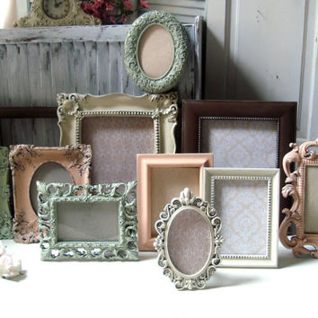 Coral and Cream Ornate Picture Frame Set, Dark Brown and Sage Cottage Chic Vintage Style Frame Collection, Oval Ornate Frames, Wedding Frame