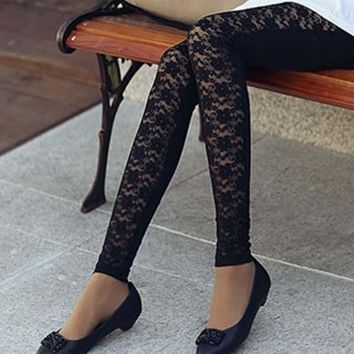 Hot Lady Fashion Sexy Floral Super Elastic Lace Faux Leather Leggings