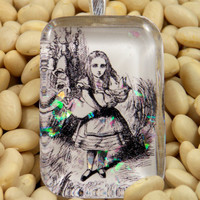 """Alice in Wonderland inspired resin pendant, necklace, 1"""" x 1 1/2"""", available with a 3mm silver ball chain or 1.5mm black ball chain, unique"""