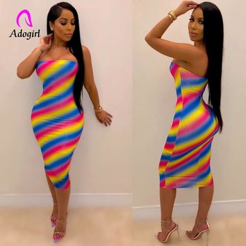 Neon Colorful Stripe Women Sexy Sleeveless Summer Dress Fashion Off Shouder Slim Sheer Dress Elegant Bodycon Party Dress Vestido