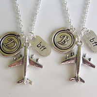 Airplane Necklaces, Best friend necklaces, long distance friendship, best friends, set of 2 necklaces, travel necklace, relationship jewelry