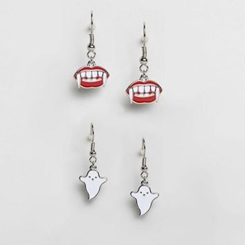 ASOS Halloween Pack of 2 Ghoul Earrings at asos.com