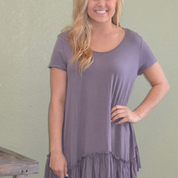 Going Natural Ruffle Hem Top: Purple
