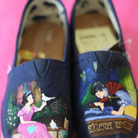 Snow White Inspired Custom painted Disney themed TOMS or Vans Artwork and Shoes included