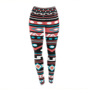 "Nika Martinez ""Black Tipi"" Red Tribal Yoga Leggings"