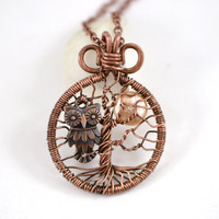 Mini Tree-Of-Life & Night Owl Pendant Copper Wire Wrapped Pendant Wired Copper Jewelry Wire Wrapped Tree-Of-Life Owl Pendant Unisex