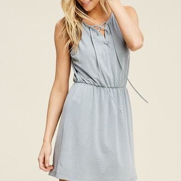 Sage Sleeveless Lace Up Dress