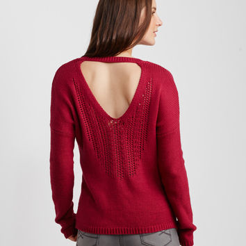 Back Cutout V-Neck Sweater