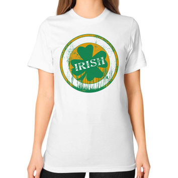 Irish four leaf dripping clover Unisex T-Shirt (on woman)