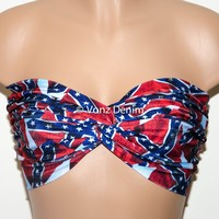 Multi Color Print Bandeau, Twisted Top Bathing Suits, Spandex Bandeau Bikini