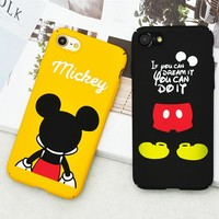 Lovely Cartoon Mickey Mouse Dog Fashion Cases Frosted Slim Hard PC Phone Cases For iPhone 8 7 7Plus 6 6S Plus  Coque Capa Fundas