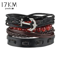 17KM 4pcs /Set Punk Vintage Anchor Bracelets & Bangle Multiple Layers Leather Beads wide Bracelet Female Jewelry for Women Man