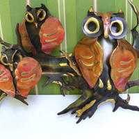 Vintage Wall Hanging Owl Set in Brass by GSArcheologist on Etsy