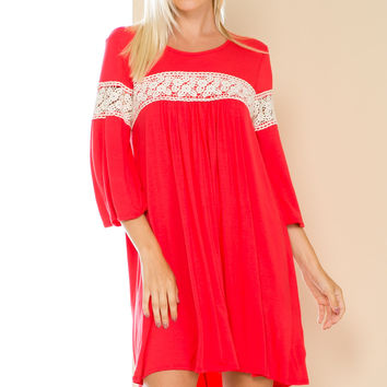 Coral Bell Sleeve Crochet Trim Swing Dress