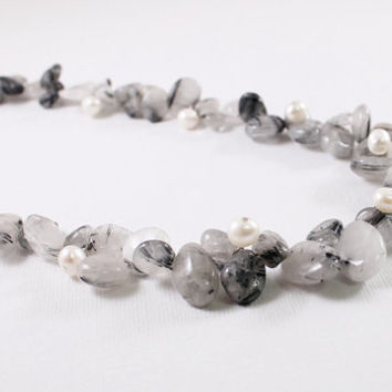 Tourmalinated quartz necklace pearl jewelry