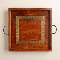 Wood and Embossed Square Metal Tray - World Market