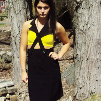 90s Black Cut Out GRUNGE Punk High Waist Dress Sm Med Avant OOAK Suspenders Tuxedo