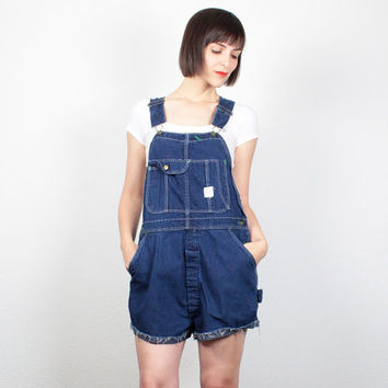 Vintage Overall Shorts Blue Denim Overalls 1970s Shortalls Cut Off Jean Shorts Hippie Dungarees Romper Playsuit Jumper M Medium L Large