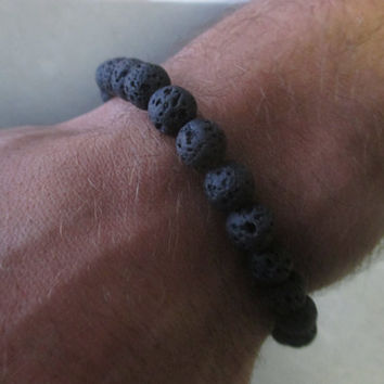 Men's Beaded Lava Rock Bracelet