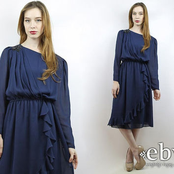 Vintage 70s Sheer Sleeve Navy Sequin Ruffled Dress S M L XL Sheer Dress Longsleeve Dress Disco Dress Party Dress Ruffled Dress Navy Dress