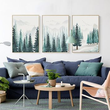 Abstract Nordic Forest Mountain Landscape Canvas Painting Posters And Prints Picture  Wall Art Living Room Home Decoration Mural