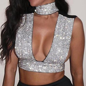 Crystal Choker Backless Crop Top - In Stone or Stone and Pearl options