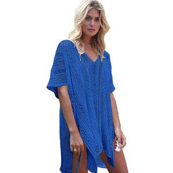 e0196eed30f Cover ups Bikini Sexy Swim Suit Cover Up Beach Skirt Hollow Knit