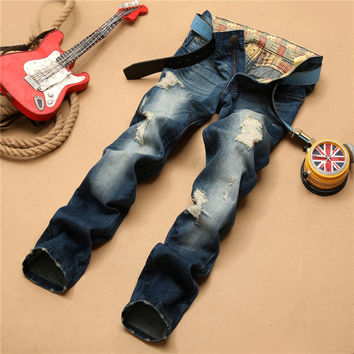 Strong Character Ripped Holes Men's Fashion Pants Jeans [6541743363]
