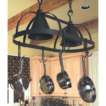Stone County Ironworks 903222-BLK-905102 Oval Dutch Hand Rubbed Ivory Lighted Pot Rack - (In Hand Rubbed Ivory)
