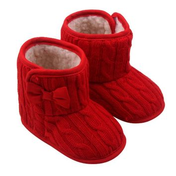Baby Bowknot Soft Sole Winter Warm Shoes Boots children footwear correrning shoes