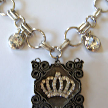 Rhinestone Crown Necklace in Gunmetal Shadow Box Frame with Two Diamonds. Choose the Length!